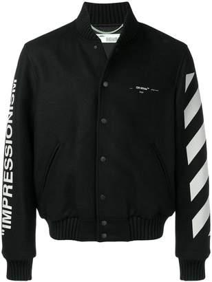 Off-White diagonal stripe varsity jacket