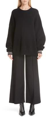 Alexander Wang Crystal Cuff Wool Blend Sweater