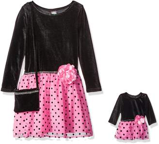 Dollie & Me Big Girls' Polka Dot Party Dress with Purse and Matching Doll Outfit