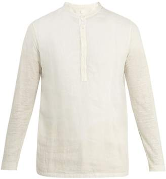 120% Lino 120 LINO Henley long-sleeved linen T-shirt