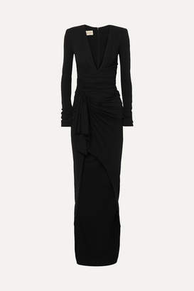 Alexandre Vauthier Tie-front Ruched Stretch-crepe Gown - Black