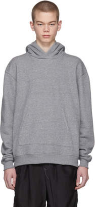 John Elliott Grey Oversized Cropped Hoodie