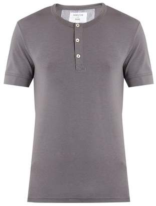 Hamilton And Hare - Short Sleeved Henley T Shirt - Mens - Grey