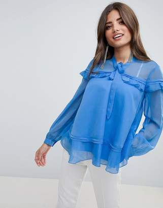 Asos Design DESIGN ruffle blouse with pussybow