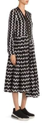Stella McCartney Zip Front Zigzag Silk Dress