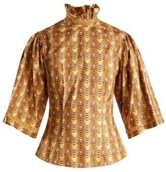 Batsheva - Wave Print Ruffled Cotton Blouse - Womens - Tan Multi