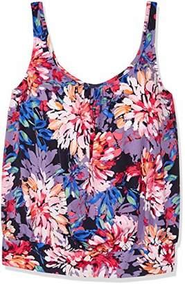 Shape Solver Women's Swimsuit Gallery Shirred Neck Blouson Tankini