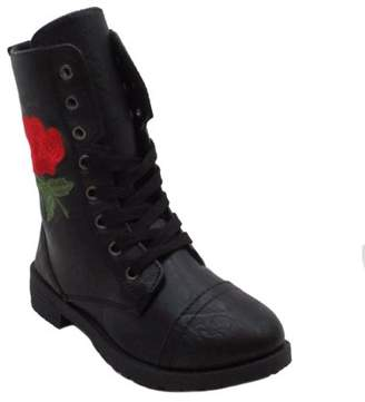 BLUE SUEDE SHOES Blue Suede Shoes Girls' Millie Combat Boots with Colorful Patchwork