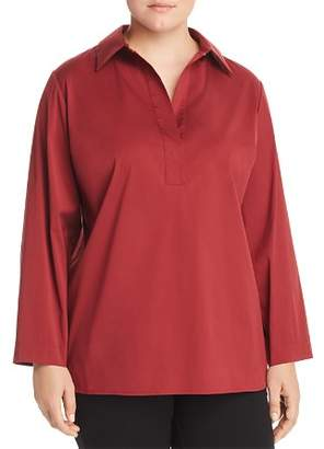 Lafayette 148 New York Plus Beckett Collared Henley Blouse