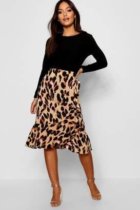 boohoo Petite Leopard Print Asymmetric Ruffle Satin Midi Skirt