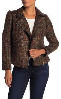 T Tahari Frayed Boucle Zip Jacket