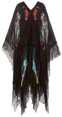 Romance Was Born Why The Butterflies Sheer Layered Chiffon Dress - Womens - Black Multi