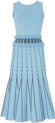 Prabal Gurung Exclusive Fringe-Trimmed Pleated Stretch-Knit Mdi Dress