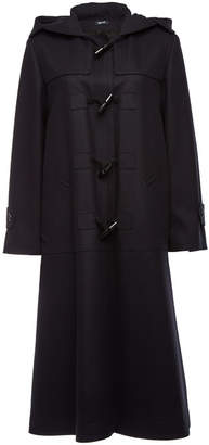 Jil Sander Navy Fleece Wool Duffle Coat