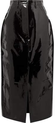 SOLACE London Ida Patent-leather Midi Skirt - Black