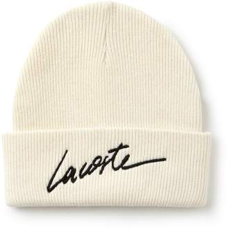 Lacoste Unisex LIVE Turned Edge Ribbed Wool Beanie