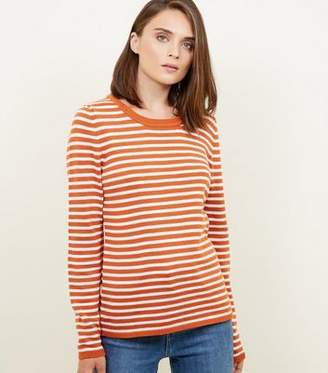 New Look Orange Stripe Crew Neck Jumper