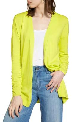 Halogen Ruched Sleeve Cardigan (Regular & Petite)