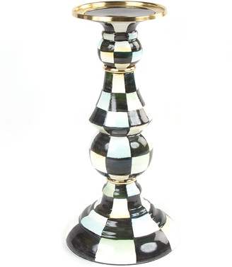 Mackenzie Childs Courtly Check Large Pillar Candlestick