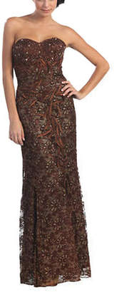 Asstd National Brand Classy Strapless Lace Evening Dress