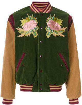 547a371473bf7d Gucci angry cat and floral embroidered bomber jacket