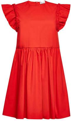 RED Valentino Stretch Cotton Dress with Braided Trim