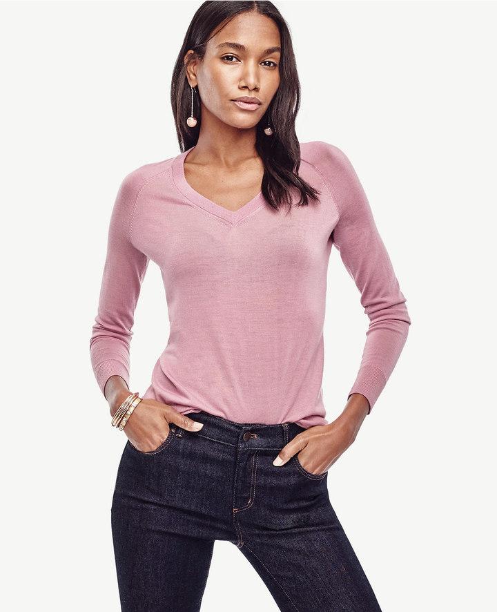 Ann TaylorMerino Wool V-Neck Sweater