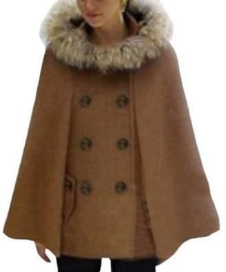 HTOOHTOOH Women's Winter Warm Fur Hooded Cape Wool Poncho Pea Coat Drape L