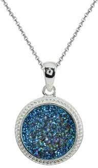 Lord & Taylor Sterling Silver & Blue Druzy Quartz Pendant Necklace