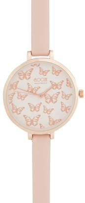 Floozie by Frost French Ladies' Pink Butterfly Analogue Watch