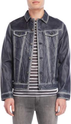 Bolongaro Trevor Blue Brushed Leather Jacket