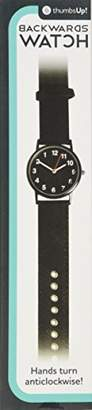Thumbs Up Backwards watch, anti clockwise black face and Synthetic leather and canvas strap