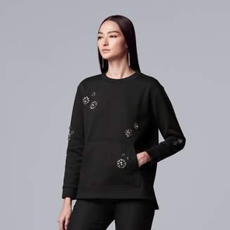 Vera Wang Women's Simply Vera Embellished-Floral Sweatshirt