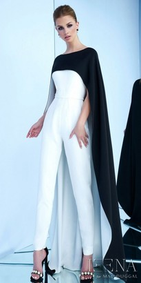 Mac Duggal Classic Straight Jumpsuit with Floor Length Cape $498 thestylecure.com