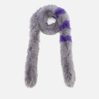 BKLYN Women's Fox Fur Scarf - Grey/Lavender Stripes