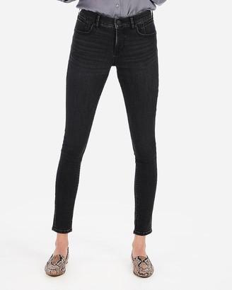 f0974729120 Express Mid Rise Denim Perfect Curves Lift Black Jean Leggings