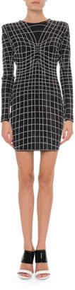 Balmain Long-Sleeve Studded Jersey Cocktail Dress