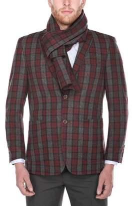Blend of America Verno Men's Burgundy and Dark Grey Plaid Slim Fit Wool Blazer with Matching Scarf