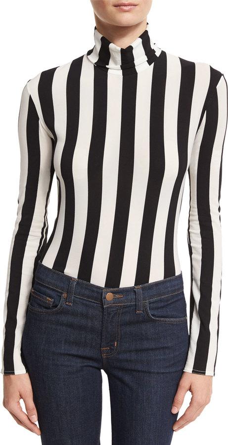 Nina RicciNina Ricci Striped Turtleneck Bodysuit, Black/White