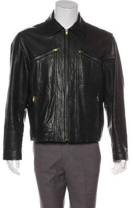 Michael Kors Collared Leather Jacket