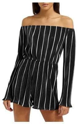 Missguided Striped Plisse Bardot Romper