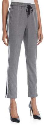 Rebecca Minkoff Nora Straight-Leg Check Pants w/ Racer Stripes
