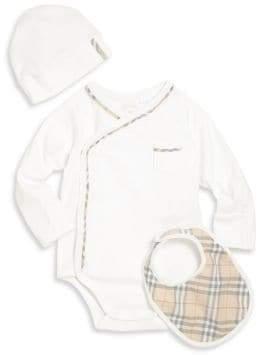 Burberry Baby's Konner Boys Three-Piece Bodysuit, Hat& Bib Gift Set