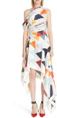 Monse Label Geometric Print Asymmetrical Silk Dress