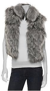 Cassin Silver Fox Fur Cropped Vest