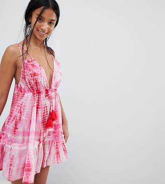 Asos Design Petite Tie Dye Tassel Trim Beach Dress