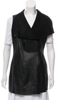 Neiman Marcus Leather Longline Vest