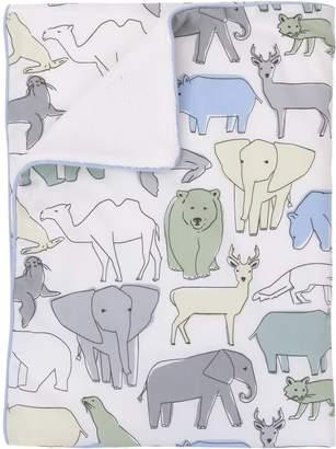 DwellStudio Dwell Studio Caravan Animal Print Double Sided Cotton/Velour Blanket, Aqua/Gray/Green/Yellow
