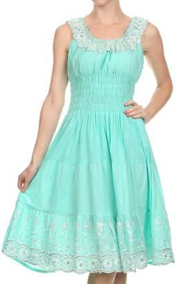 Lulu Sakkas 2060 - Women's Sequin Embroidered Smocked Bodice Peasant Dress - OS