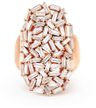 Suzanne Kalan White Diamond Baguette Starburst Ring - Rose Gold